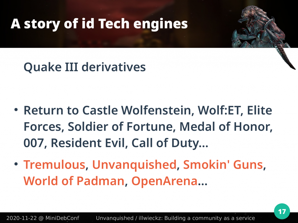 Sample of games built on Quake 3 code