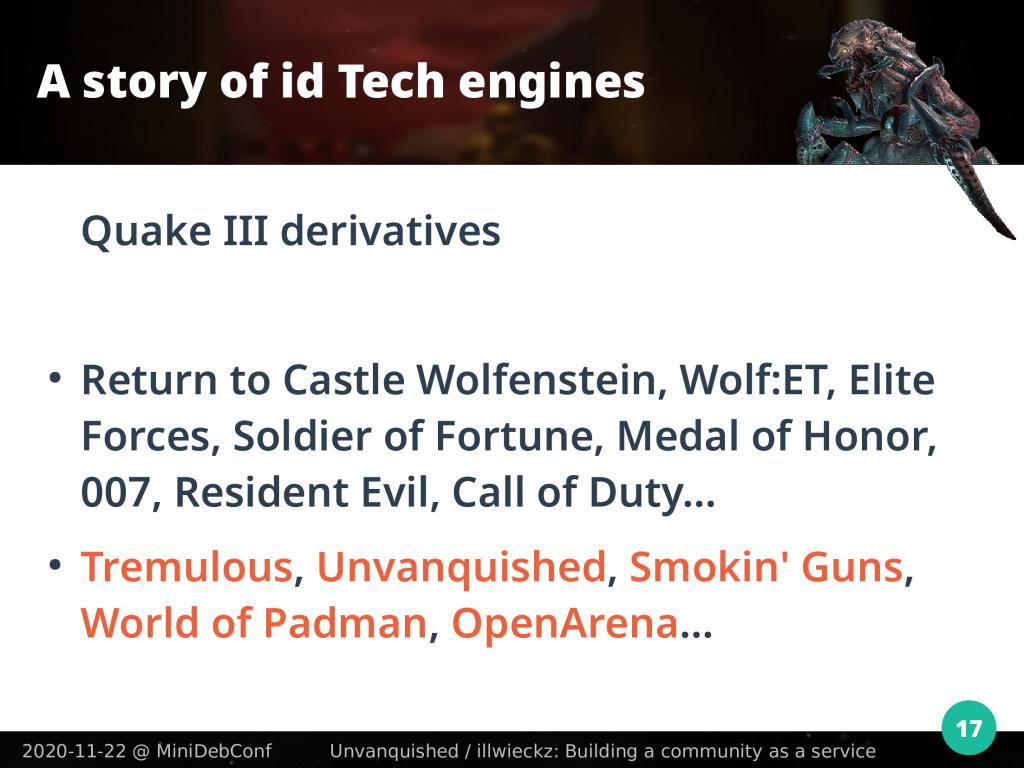 Sample of games built on Quake III code
