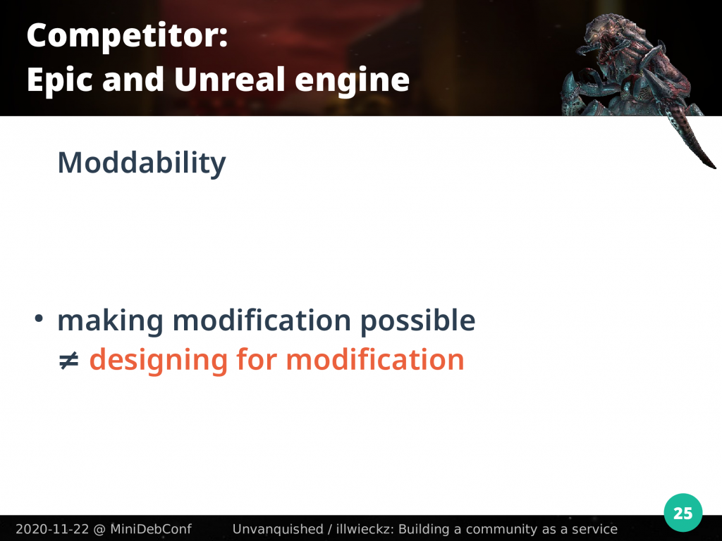 Making modification possible is different to designing for modification