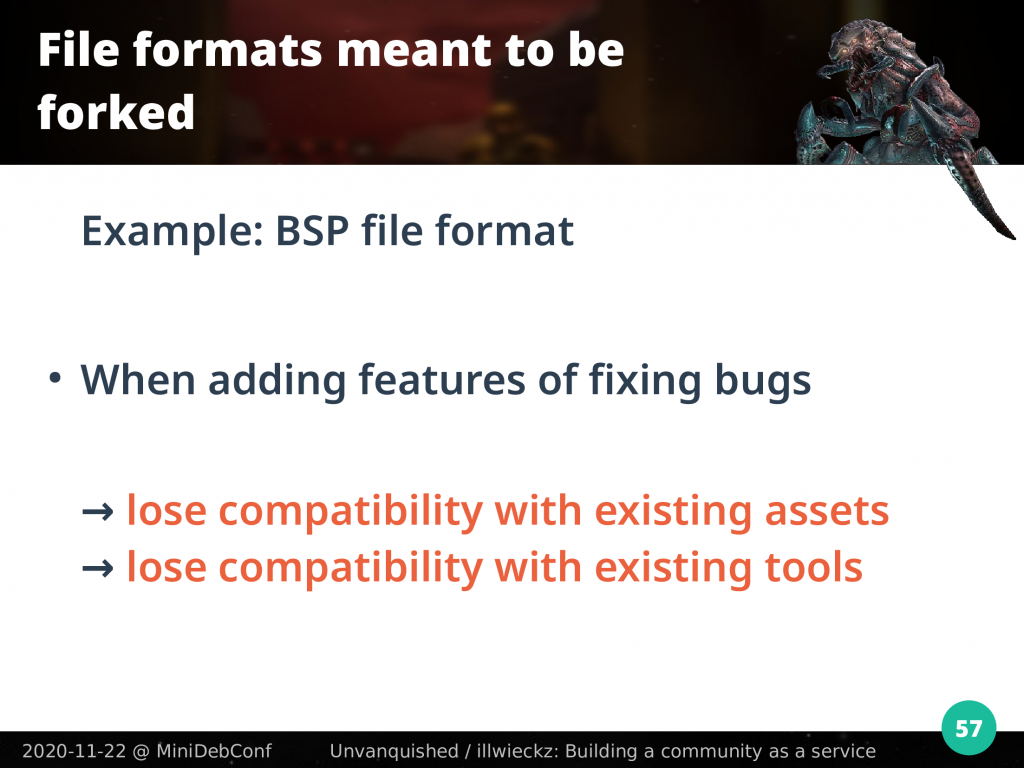 Modifying the BSP format loses compatibility with tools and existing files