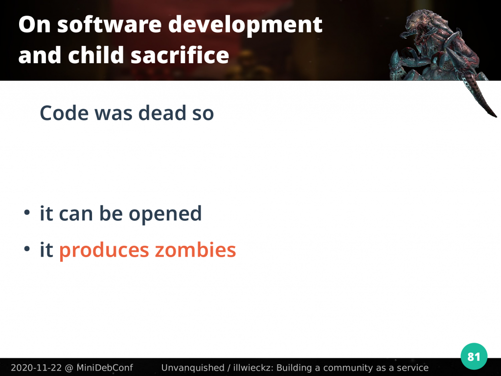 Dead code produces zombies