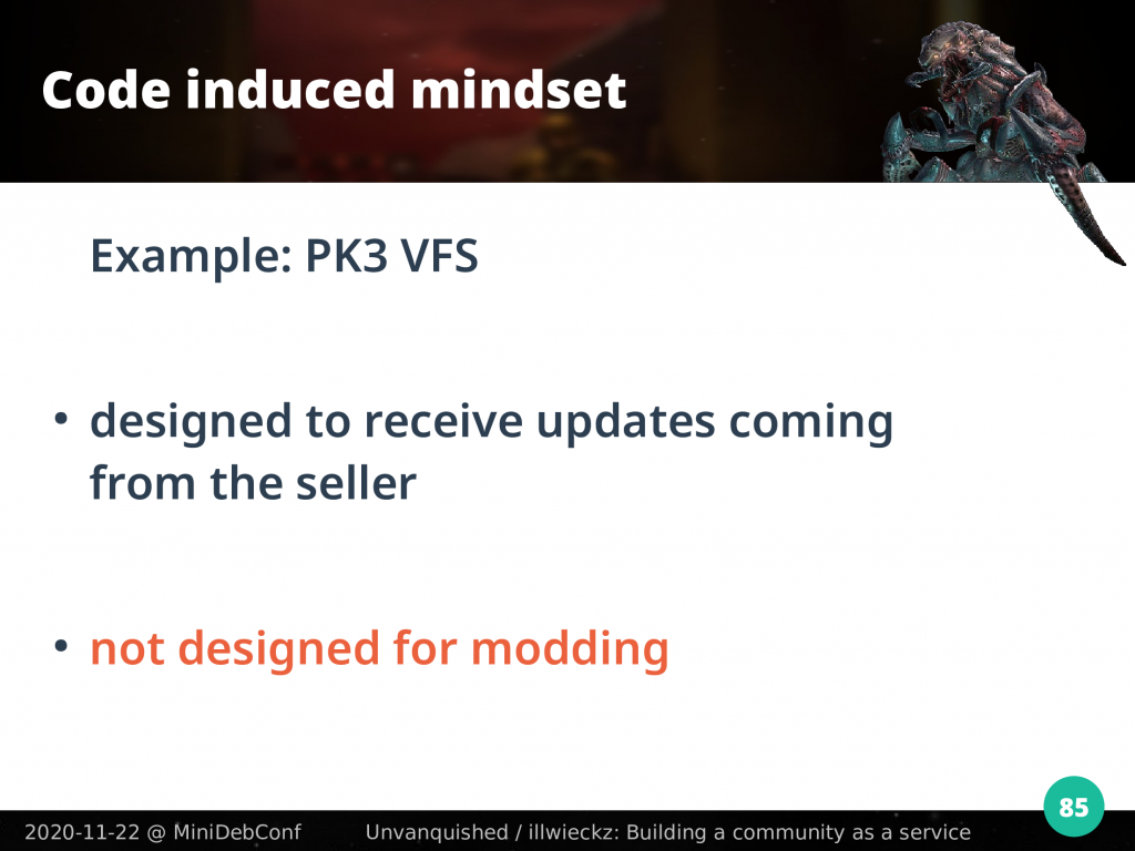 PK3 VFS is designed to receive updates from the seller, not from modding