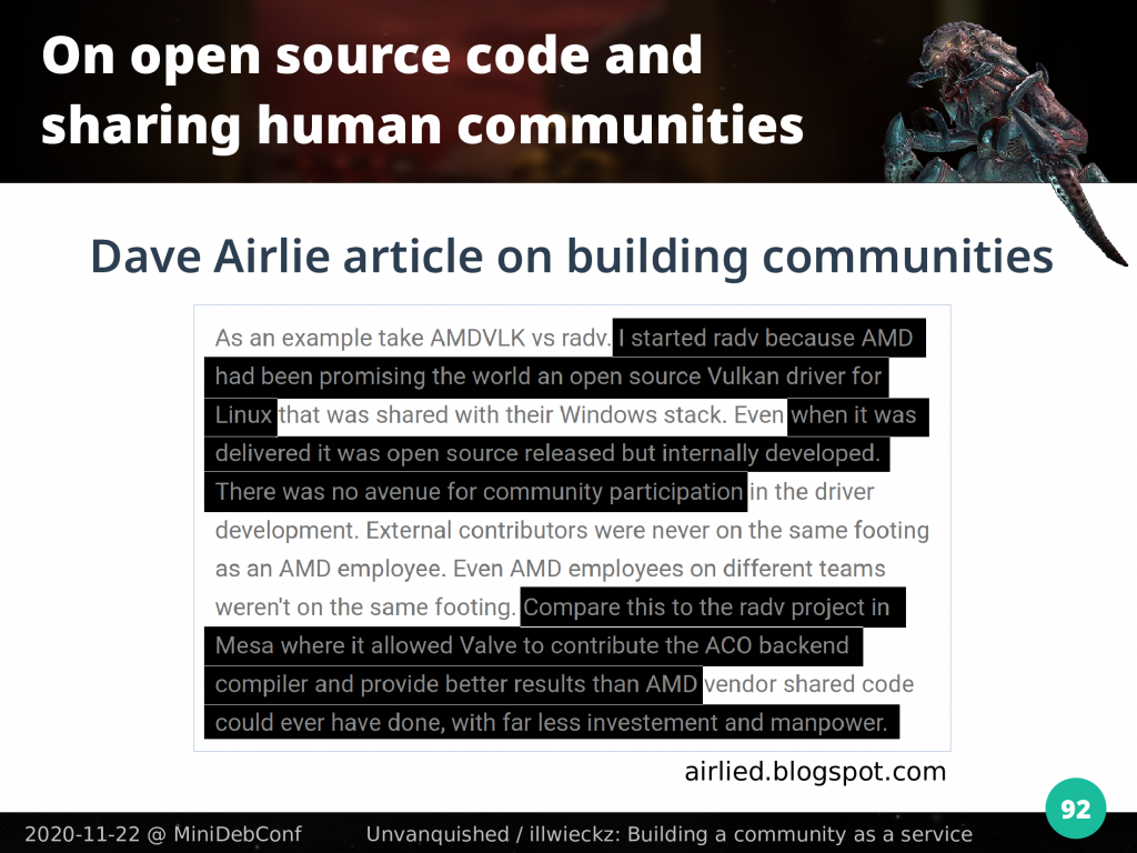 Dave Airlie blog post quote screenshot