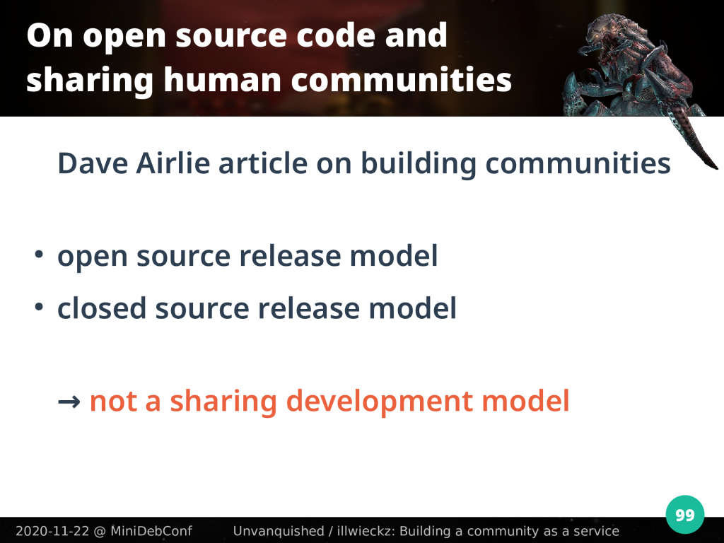 Source release model is not a sharing development model