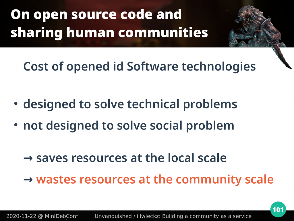 id Software design saves resources at local level, wastes resources at the community scale