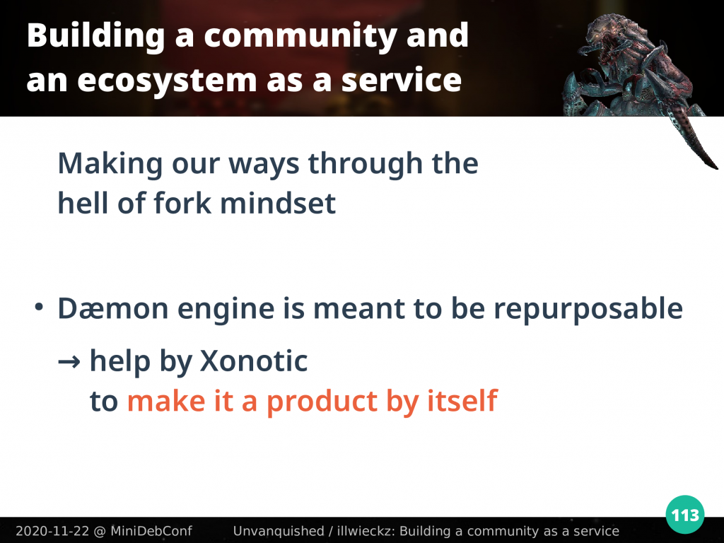 Daemon engine is meant to be repurposable, help is provided by Xonotic