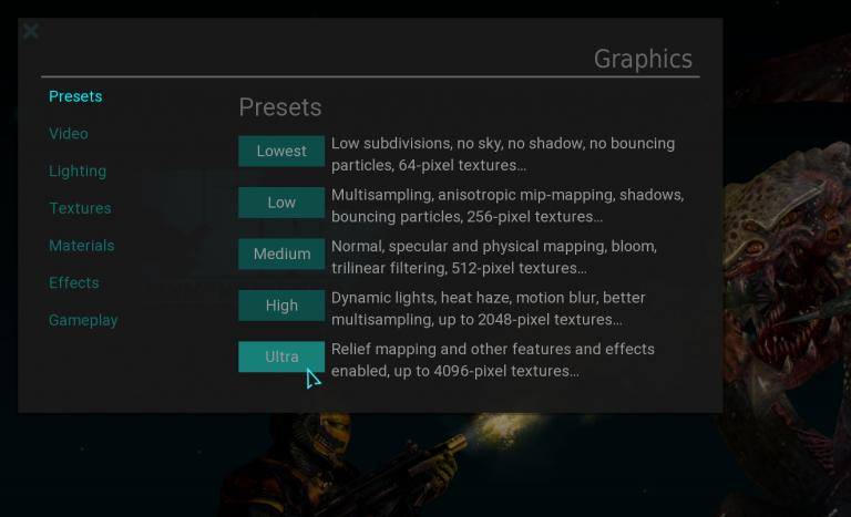 Graphics presets.