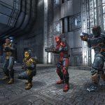 A fragile unprotected soldier clone with a construction kit, another soldier with light armour, radar and shotgun, one with a medium armour, jetpack and a lasgun, and another one wearing a battlesuit and carrying a lucifer cannon, equipped to face tyrants, posing in Forlorn map.