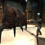 A human wearing a battlesuit facing a tyrant in Parpax map.